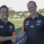 Luke Brooks with new club mentor Michael Maguire