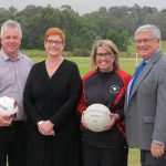 Liberal Senator for Western Sydney, Marise Payne, centre, is encouraging Macarthur locals to provide feedback on sporting facilities in need of an upgrade.