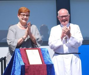 Senator for Western Sydney Marise Payne opening the new $2.5 million junior school at St Gregory's College Campbelltown yesterday.