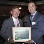 Jim Marsden receives award from mayor George Brticevic