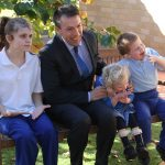 George Brticevic, with some Beverley Park School students
