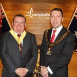 Mayor George Brticevic, right, and his deputy Darcy Lound on the night night they were elected last month.