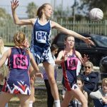 Netball action form the recent grand finals at Kirkham.