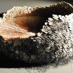Susanna Strati's Wreath #2: Communion breads, copper, paper, graphite, ink, silk.