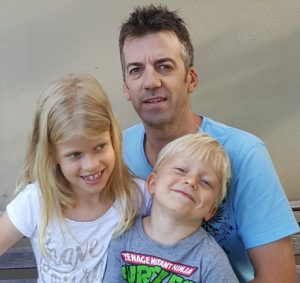 Peter Bradley with his children, daughter Sienna, 7, and son Caylem, 4.