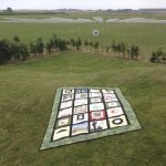 The quilt is displayed on the western front in France.