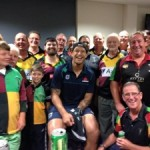 Israel Folau meets players and officials from the Campbelltown Harlequins after the trial match at Campbelltown between Waratahs and the Chiefs earlier this year.
