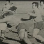 Ray Corkery about to lend a hand in a tackle