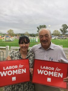 Ms Quinnell with Federal Member for Macarthur, Labor's Dr Mike Freelander.