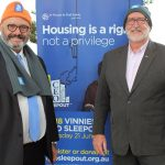 ster Group CEO Danny Munk joined Vinnies' Wollongong Diocesan Central Council executive officer Peter Quarmby to launch this year's CEO Sleepout