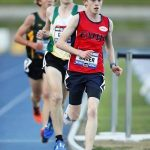 David Baker on route to victory in the NSW All Schools 5000m championship.