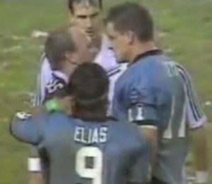 Wally Lewis and firebrand Mark Geyer face off in the 1991 Origin series.