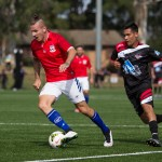 Action from Sunday's match between Blacktown and United 58. Picture by Gavin Leung/courtesy of Football NSW