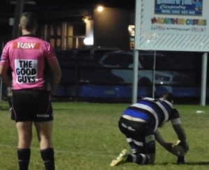Appin prepare to convert one of their tries against the Oaks on Friday night.