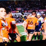 Rock bottom: Tigers players after the match. Pictures courtesy Fox Sports 1