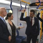 Chris Patterson and Melanie Gibbons, NSW transport and infrastructure minister Andrew Constance and Premier Gladys Berejiklian check out the train services along the South West Rail Link.