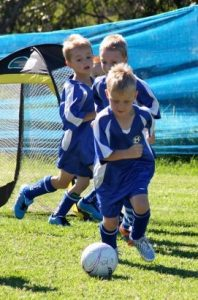 Campbelltown Uniting Church Soccer Club youngsters in action.
