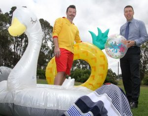Let's make a splash: Mayor of Campbelltown, Cr George Brticevic and Gordon Fetterplace aquatic centre team leader Mitchell Faulkner get set for summer fun at Bradbury Oval.