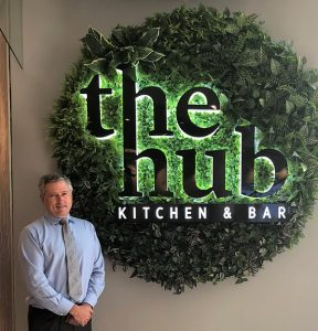 Wests Group CEO Tony Mathew at the entrance to The Hub, the club's new food destination.