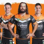 Aaron Woods, centre, with the members of the new leadership team at Wests Tigers.