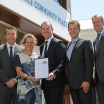 Mayor of Campbelltown, Cr George Brticevic; Romilly Madew, CEO of the Green Building Council of Australia; Andrew Whitson, CEO Residential at Stockland; NSW Environment Minister Mark Speakman; Gavin Tonnet