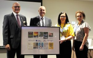 Campbelltown Catholic Club board chairman David Olsson and ceo Michael Lavorato, with Youth Solutions ceo Geraldine Deans and president Rebecca Whitford.
